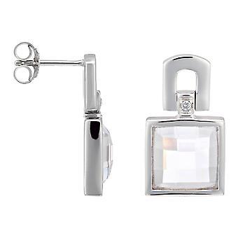 Orphelia Silver 925 Earring Square Clear Zirconium  ZO-5991