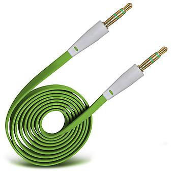 For Huawei P20 - 3.5mm Jack To Jack 1.2 Metre Flat Music AUX Auxiliary Audio Cable Lead Also Fits Laptops, PCs, MP3 Players, Car / HomeStereo (Green) by i-Tronixs