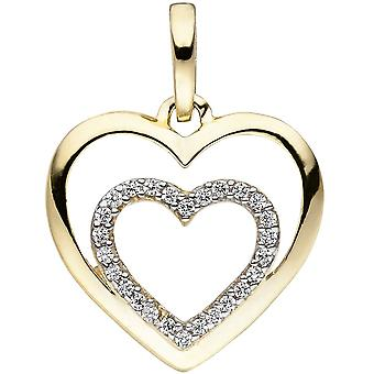 Pendant heart heart 375 gold yellow gold bicolor 26 cubic zirconia heart pendant gold heart