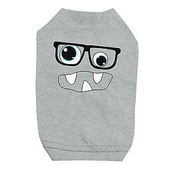 نظارات الوحش مع قميص الحيوانات الأليفة الرمادية للكلاب الصغيرة