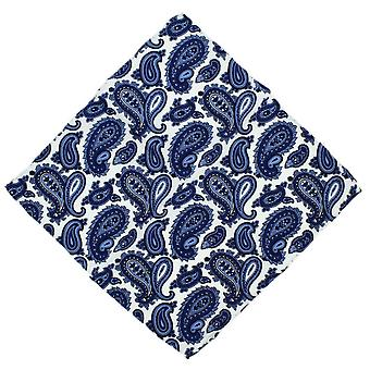 Michelsons van Londen Paisley Silk Pocket Square - blauw