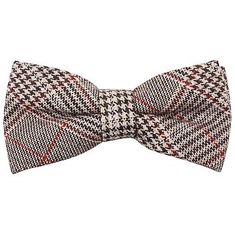 Knightsbridge Neckwear Price of Wales Checked Bow Tie - Brown/Red