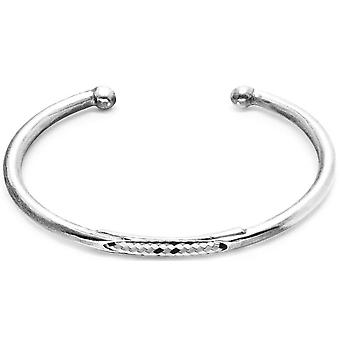 Anchor and Crew Trent Silver and Rope Bangle - Grey Dash