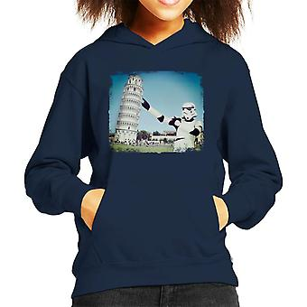 Original Stormtrooper Selfie Leaning Tower Of Pisa Kid's Hooded Sweatshirt