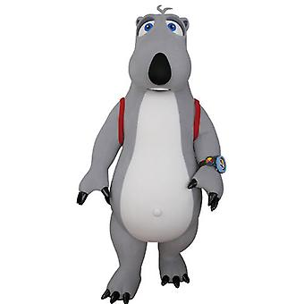 mascot SPOTSOUND of gray and white bear with a binder