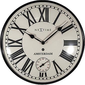 NeXtime NE-3231 Wandklok Amsterdam Dome Ø30 Metaal Zwart