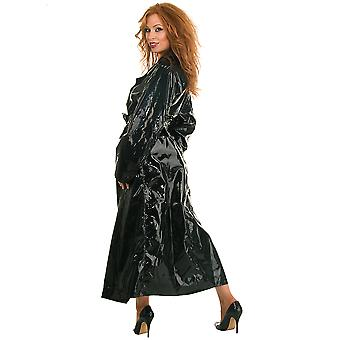 Honour Women's Dreamy Trench Coat PVC Black Reefer Collar Double Breasted Front