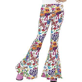 Groovy leveälahkeiset housut, naiset, monen värisiä