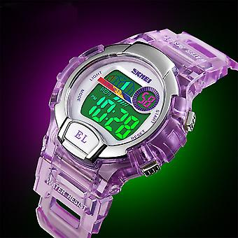 SKMEI niños/niñas azul reloj Digital transparente correa reloj 50m cronómetro resistente al agua ideal para las edades 5-13 DG1450BLU