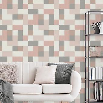 Fd42390 elegante Cube Muster Pink Rose Gold Silber Heavyduty-Wallpaper 10.05x0.52M