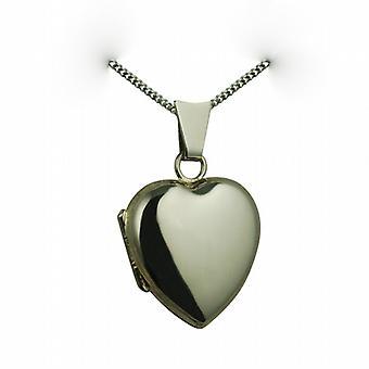 18-каратного белого золота 17x16mm равнина сердце формы медальон с снаряженная цепи 16 дюймов, подходит только для детей
