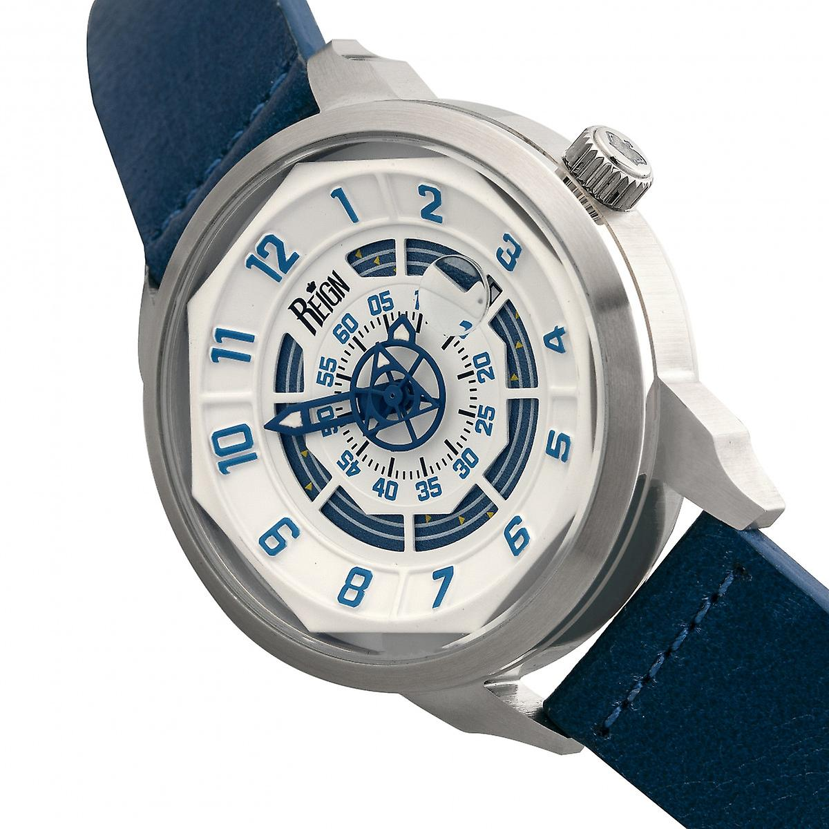 Reign Lafleur Automatic Leather-Band Watch w/Date - Silver/Blue