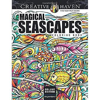 Haven créative Edition Deluxe magiques paysages marins Coloring Book