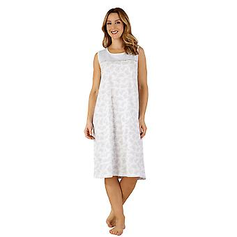 Slenderella ND3125 Women's Cotton Jersey Grey Butterfly Night Gown Loungewear Nightdress