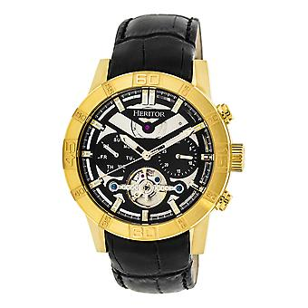 Heritor Automatic Hannibal Semi-Skeleton Leather-Band Watch - Gold/Black