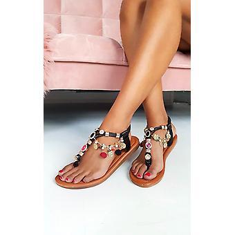 IKRUSH Womens Steffi chaîne empierré sandales t-bar