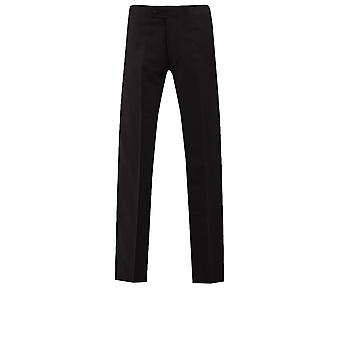 Dobell Mens Tuxedo nero pantaloni Regular Fit 100% lana raso Side Stripe