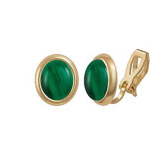 Ewige Sammlung Menuett grünen Malachit Goldton Stud-Clip auf Ohrringe
