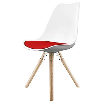 Fusion Living Eiffel Inspired White And Red Dining Chair z pyramid light wood legs