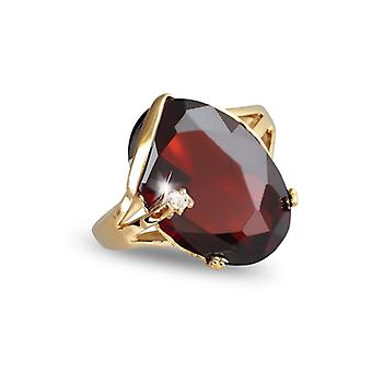 Gold Plated Ring With Grenat Zirconia And Cubic Zirconia