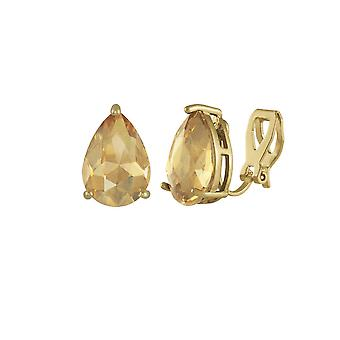 Eternal Collection Seduction Teardrop AB Topaz Crystal Gold Tone Stud Clip On Earrings