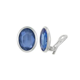 Ikuinen kokoelma Precious safiiri sininen kristalli soikea Hopea sävy Stud Clip korva korut