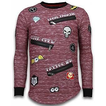 Longfit broderi-tröja patchar-Elite Crew-Bordeaux