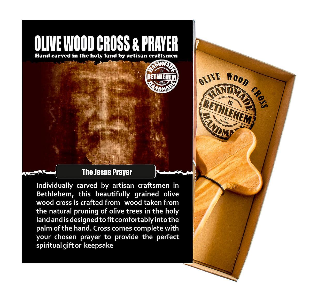 The Jesus Prayer Carved Olive Wood Comfort Cross Religious Keepsake Hand Made In Bethlehem