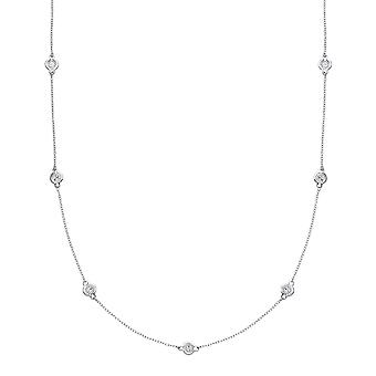Jewelco London Ladies Rhodium Plated Sterling Silver diamond-cut Faceted Illusion Eternity Necklace 35 inch