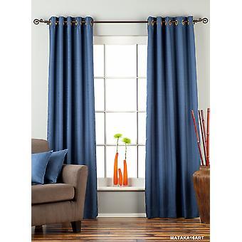 Blauer Ring Top Matka Rohseide Vorhang / drapieren / Panel - Stück