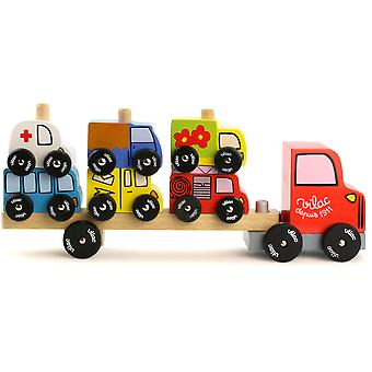 Vilac Truck and Trailer with Vehicles Stacking Game