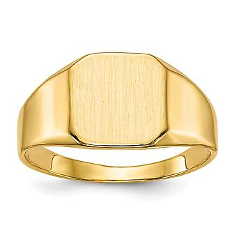 14 k giallo oro solido indietro Engravable Mens dell'anello di Signet - 6,7 grammi - taglia 10