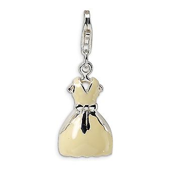 925 Sterling Silver Polished Rhodium plated Fancy Lobster Closure 3 D Enameled Dress With Lobster Clasp Charm Pendant Ne