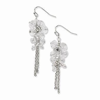 Silver ton Shepherd krok Clear Crystal Pärla Cluster Long Drop Dingla Örhängen Smycken Gåvor för kvinnor