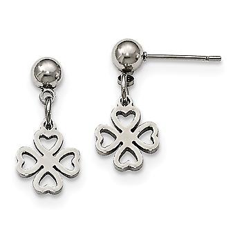 Roestvrij staal gepolijst klaver post lange drop bungelen oorbellen sieraden geschenken voor vrouwen