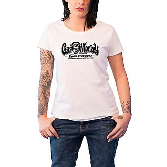 Gas Monkey Garage T Shirt GMG Logo nouveau officiel Femme Skinny Fit Blanc