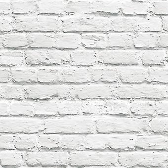 Papier peint en brique blanche Muriva 102539