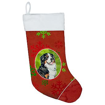 Bernese Mountain Dog Red and Green Snowflakes Holiday Christmas Stocking