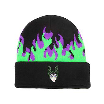 Maleficent Beanie hat lángok logo roll up új hivatalos Disney Black