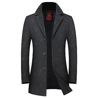 Allthemen miesten ' s raita käänne paksu lämmin rento Villa päällys takki