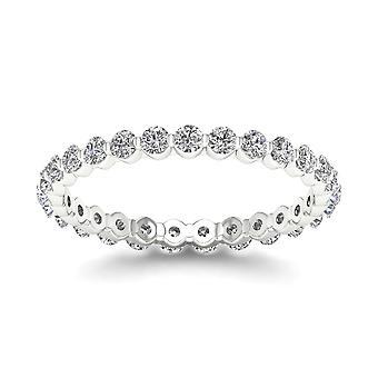 Igi gecertificeerd 0.75 ct ronde geslepen diamant vrouwen's eternity band in 14k wit goud