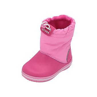 Crocs Crocband LodgePoint Boot K Kids Girls Boots Pink Lace Up Ankle Boots