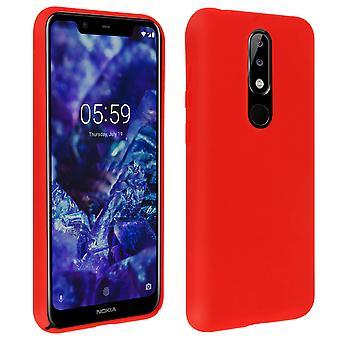Nokia 5.1 Plus Semi-rigid Case, Soft Touch Matte Finish - Rot