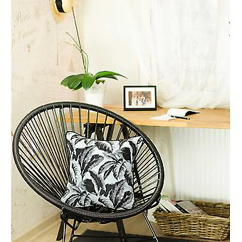 Black and White Tropical Leaf Decorative Throw Pillow Cover
