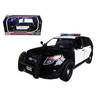 2015 Ford Abfangjäger unmarkiert Polizeiauto schwarz/weiß 1/24 Diecast Modellauto von Motormax
