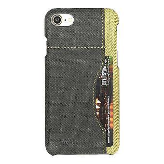 Für iPhone SE (2020), 8 & 7 Fall, stilvolle gewebte Muster langlebige Schutzleder-Abdeckung, schwarz