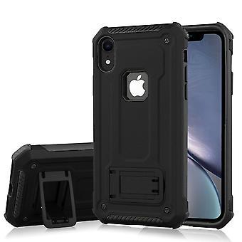 Stoßfest PC + TPU Rüstung Schutzhülle für iPhone XR, Halter, schwarz