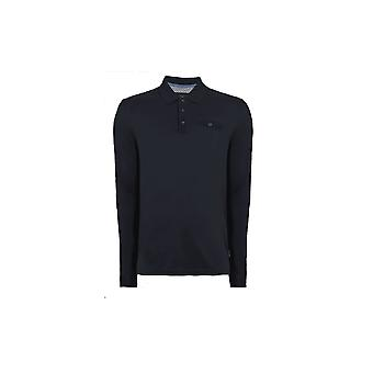 Ted Baker Men-apos;s Long Sleeved Navy Skelter Polo