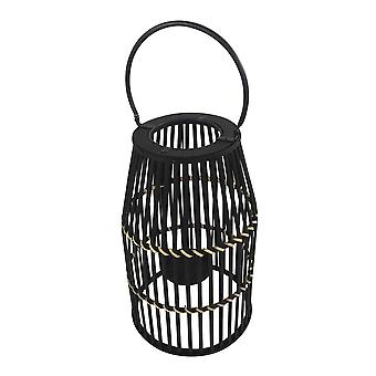 Decorative Drum Shaped Open Cage Bamboo Lantern, Large, Black