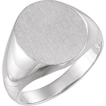 925 Sterling Gümüş 16x14mm Cilalı Erkek Oval Signet Yüzük Fırça Kaplama Boyutu 11 Erkekler için Takı Hediyeler